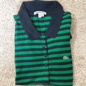 Lacoste Blue and Green Stripe Polo Top